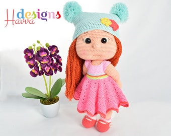Crochet Pattern - Mia With Colored Clothes (Amigurumi Doll Pattern)