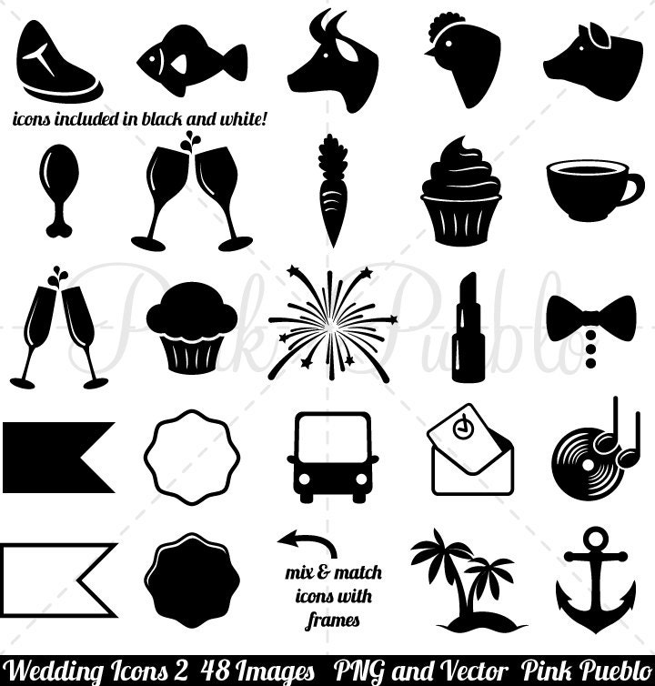 Wedding icons clipart clip art 2 vintage black and white zoom stopboris Images