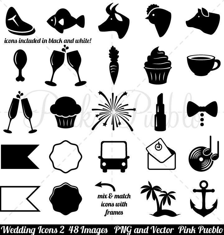 Wedding icons clipart clip art 2 vintage black and white zoom stopboris Choice Image