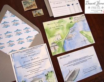 Martha's Vineyard Invitation - Oak Bluffs Wedding - Edgartown Invitations - Martha's Vineyard Wedding - Atria Wedding - Harborview Hotel