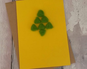 Christmas tree needlefelt card, bright fun christmas pine tree