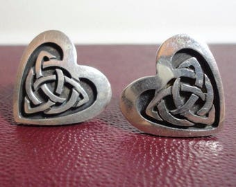 CELTIC HEART EARRINGS Sterling Silver Argentina Posts Pierced Celtic Knot