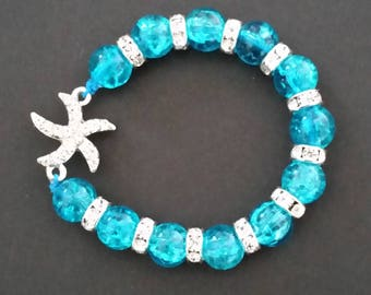 Turquoise Hair Bracelet with crystal starfish