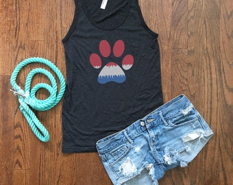 4th of July Tank Top | Red, White, and Blue Paw Print | Dog Lovers Gift | Dog Mom Top | Dog Dad Shirt | Independence Day | Fourth of July