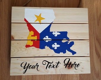Customizable Acadiana Flag Louisiana Wooden Pallet Sign, Cajun, Welcome Sign, Lafayette, Acadian, LA