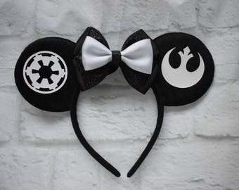 Star wars inspired mouse ears, mickey ears, mickey headband, rebel alliance, galactic empire, star wars inspired ears, Disney mouse ears