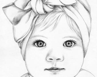 Custom pencil portrait drawing from photo. Baby girl portrait.