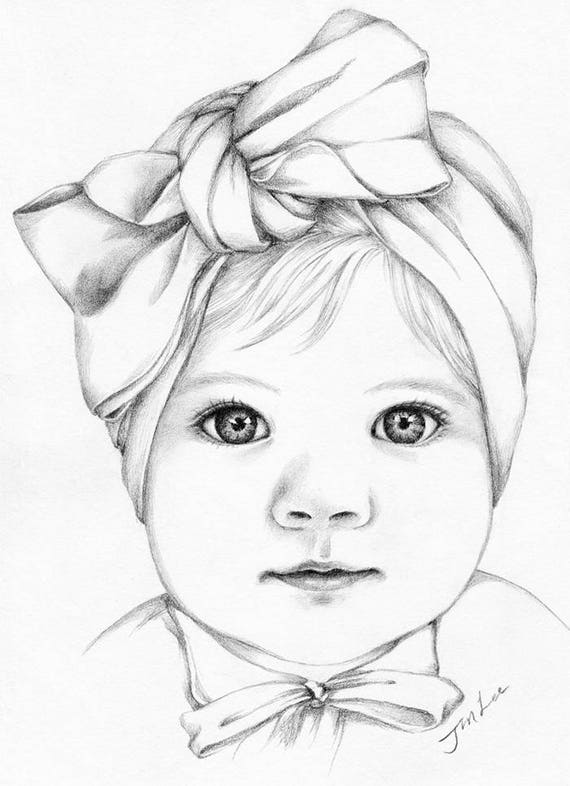 Custom pencil portrait drawing from photo baby girl portrait