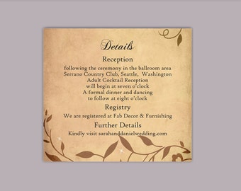 DIY Rustic Wedding Details Card Template Printable Wedding Details Card Editable Vintage Brown Details Card Leaf Enclosure Cards Party Cards