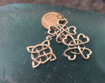 3 - Irish Heart Good Luck Pendant, Infinity knot charm, New Series, Silver plated necklace, good Luck charm, Irish Jewelry