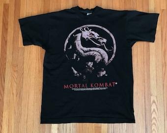 Vintage 90s Classic Mortal Kombat Black T Shirt. Size XL
