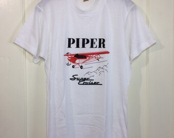 deadstock 1980s Piper Super Criser small airplane t-shirt size medium 18x25.5 pilot aircraft thin white Screen Stars made in USA NOS