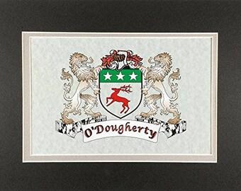 "O'Dougherty Irish Coat of Arms Print - Frameable 9"" x 12"""