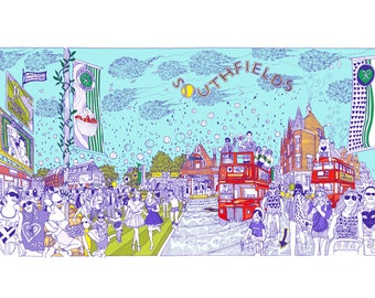 Southfields illustration print artwork gift, A4, A3 or A2 Signed QueenKwak 'City Celebration' original Wandsworth London art picture poster.