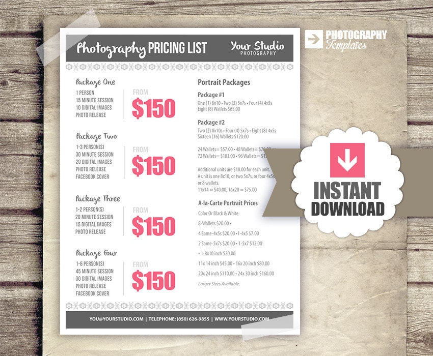 photography price list template free