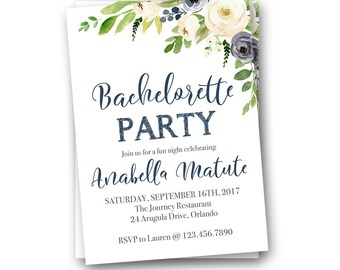 Bachelorette Party Invitation, Navy Bachelorette Party Invitations, Bachelorette Party Invites, Bridal Shower Invitations