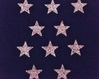 10 stars hot-melt glittery gold 15x15mm