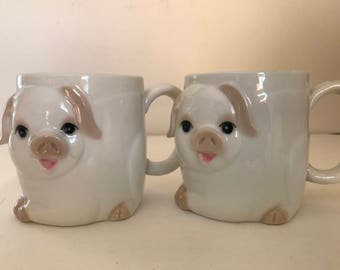 Vintage Pair of  Otagir Mugs featuring 3 D Pigs and curly tails-  Japan.- Great Condition