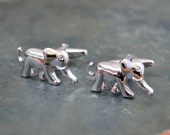 Silver Elephant Cufflinks/ Safari Animals Cuff Links/ Silver Cufflinks/ Cufflinks/ Cufflinks for men/ Gift Mens/ Men's Cuff Links/ Elephant
