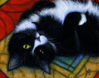 Tuxedo Cat art print. Charlie Winking