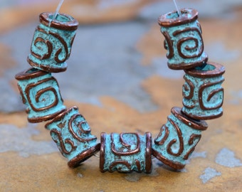 4 Greek Green Patina Spiral Key Barrel 8x10mm - Greek Casting Beads