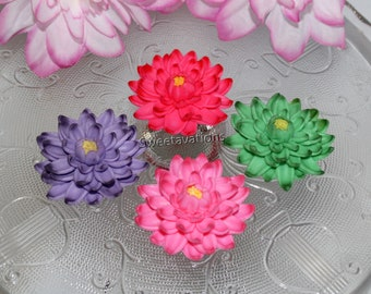 Sugar Flower Lotus Cake Topper - Lotus Cupcake Topper - Fondant Lotus - Fondant Lily Pad - Fondant Flower - Bridal - Wedding - Baby Shower