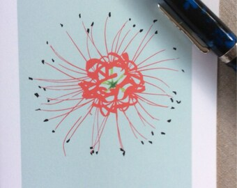 Note cards with illustration of spider lily