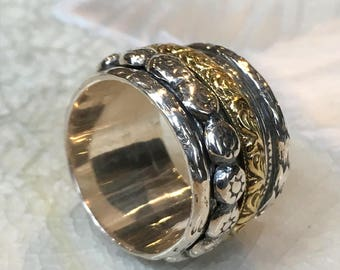 Meditation ring, Sterling silver brass band, spinners ring, floral band, Stacking ring, wedding band, thumb ring, wide band - Reunion R2380
