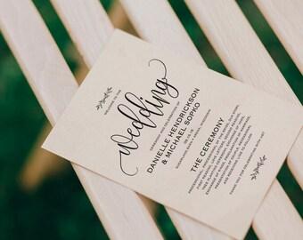 Wedding Program Printable, Wedding Program Template, Rustic Wedding, Ceremony Printable Template, Fan, PDF Instant Download #BPB202_3