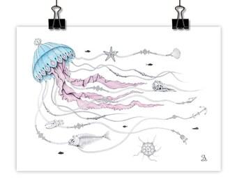 Jellyfish Tangle // Art Print, Wall Art, Giclee Print, Pencil Drawing, Animal Print, Jellyfish