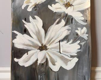 White Flowers on Wood