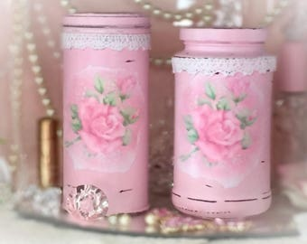 2 Pc Pink Shabby Chic Painted Glass Jar & Can Canister Set Vanity Kitchen Home Dorm Nursery Office Boudoir Decor Vase Sweet Vintage Designs