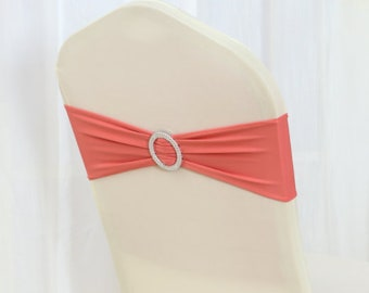 Coral Spandex Chair Bands Chair Sashes Chair Bow Tie Ribbon Wedding Engagement Birthday Anniversary Party Reception Bouquet Chair Decoration