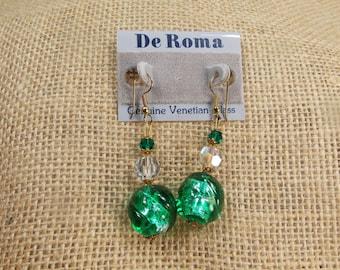 SALE Vintage Venetian Glass Drop Earrings, Green & Clear Venetian Glass Dangle Earrings, Drop Earrings by De Roma Co, Ready to Ship Under 20