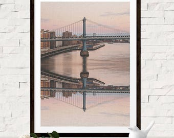 Digital Cityscape Art Print - Kaleidoscope Wall Art - Printable Bridge Wall Decor - Coastal City Poster - Large Bridge Photo - Digital Art