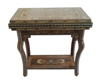 Game Table, Cards Table, Poker table, Chess Table, Marquetry Wood, Syrian Mosaic, Side Table, Syrian Mosaic, Wooden Home Decor, Syrian Art