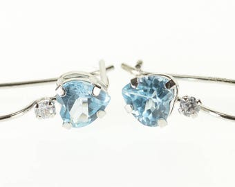 10k Blue Topaz Cubic Zirconia Accented Heart Hook Earrings Gold