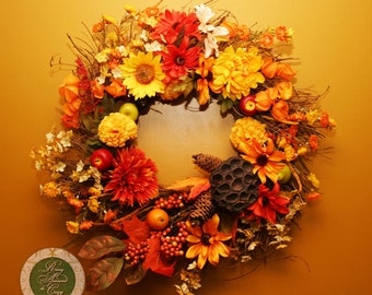 Fall Wreath Thanksgiving Wreath Thanksgiving Decor Fall Decor Autumn Twig Wreath with Flowers, Fruit, Leaves and Berries wreaths under 100