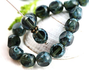 8mm Picasso beads, Olive green Czech glass beads, fire polished, round cut, triange faceted - 20pc - 2860