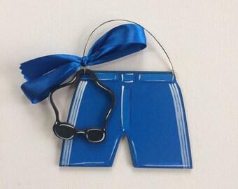 Swim Ornament - Blue Boy Swim trunks - Swim Trunks Ornament - Goggles - personalized - Swim Coach - gift - painted ornament - wood ornament