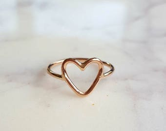 14kt Rose Gold Filled Open Heart Ring//Handcrafted//Made to order