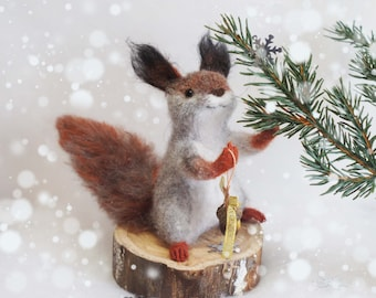 Squirrel Puff. felted toy made of wool