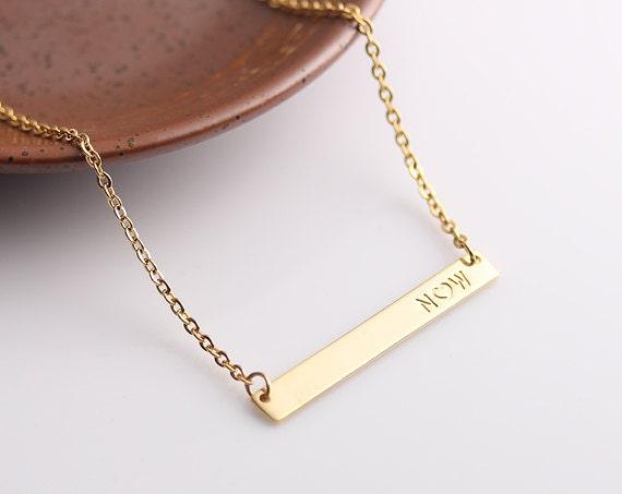 initial gold bar necklace name necklace horizontal bar. Black Bedroom Furniture Sets. Home Design Ideas