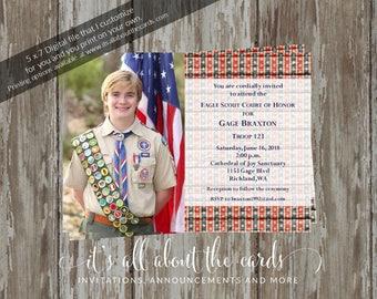 Eagle Scout Court of Honor Invitation-Stars & Stripes photo design-Digital File