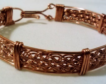 "6.5"" Copper Woven Wire Wrapped Bracelet, Handmade Wire Wrapped Jewelry, Copper Bangle Bracelet, Hand Woven Wire Bracelet, Elegant Jewelry"