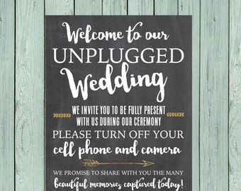Unplugged Wedding- No Cell phone or Camera Chalkboard Sign ** DIY Printing - Digital File *****INSTANT DOWNLOAD**** (wedding-unplugged)