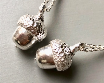 Mini Solid Silver Acorn Necklace Cast From A Real Acorn