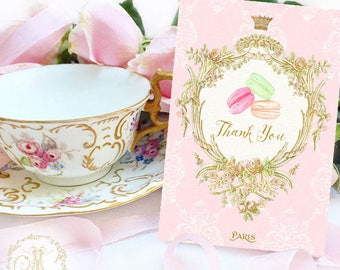 Thank you cards, French macaron, patisserie cards, cake cards, pink, set of 8