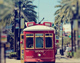"""New Orleans Canal Streetcar Photography, """"Canal 2002"""", NOLA Art, Red, City, Travel Photograph."""