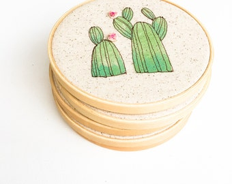 Gardening Gift, Cactus Wall Hanging, Desert Cactus Decor, Cactus Embroidery Art, Cactus Wall Art, Botanical Home Decor, Greenery